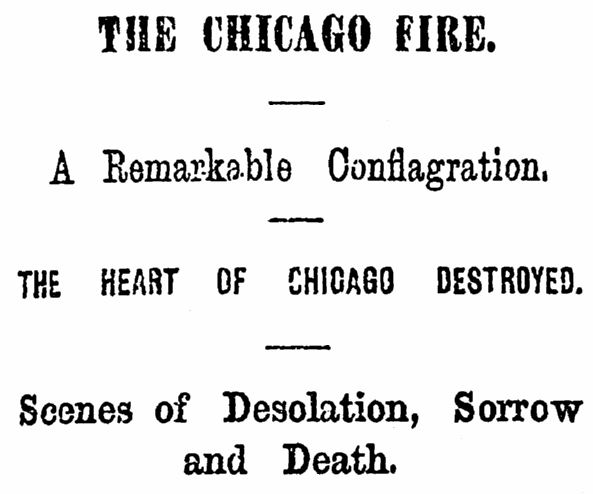 article about the Great Chicago Fire of 1871, National Aegis newspaper article 14 October 1871
