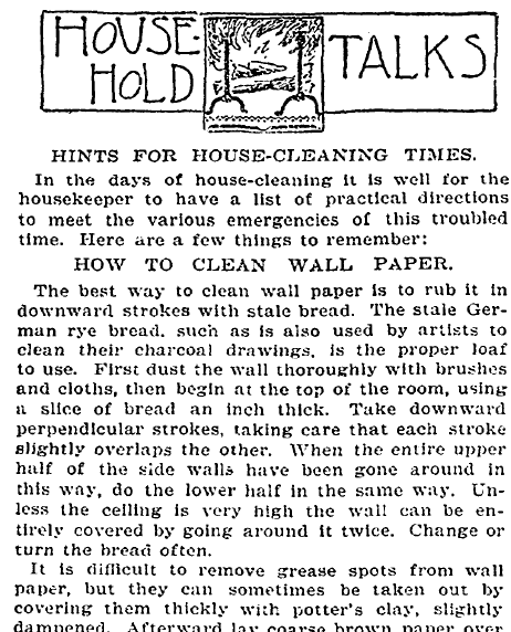 household cleaning tips, New York Tribune newspaper article 21 April 1897