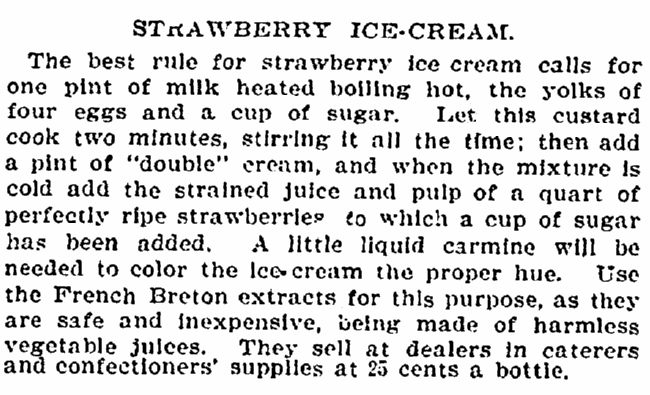 strawberry ice cream recipe, New York Tribune newspaper article 24 June 1897
