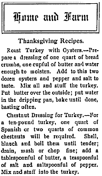 Thanksgiving Recipes, Northern Christian Advocate newspaper article 14 November 1907