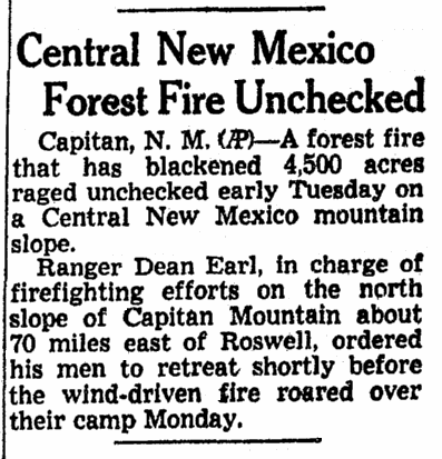 Central New Mexico Forest Fire Unchecked, Omaha World Herald newspaper article 9 May 1950