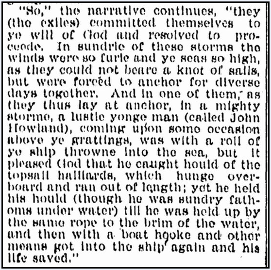 article about Pilgrim John Howland being swept overboard from the Mayflower, Omaha World Herald newspaper article 21 May 1897
