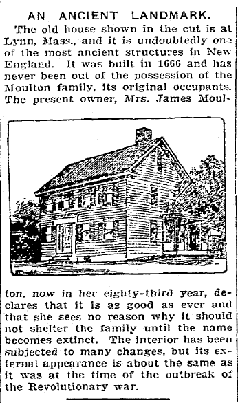 article about the Moulton family home, Patriot newspaper article 13 October 1905