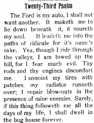article criticizing Ford cars, Perry Republican newspaper article 21 October 1915