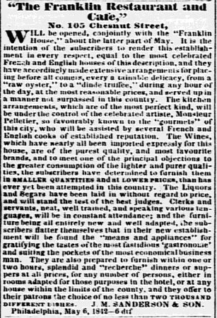 The Franklin Restaurant and Cafe, Philadelphia Inquirer newspaper article 13 June 1842