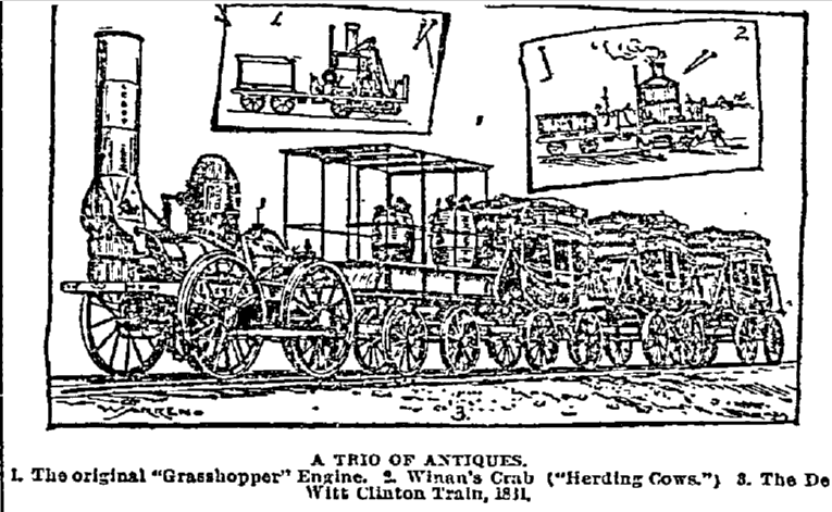 article about antique trains, Philadelphia Inquirer newspaper article 9 July 1893