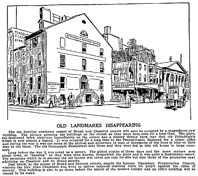 Old Landmarks Disappearing, Philadelphia Inquirer newspaper article 29 July 1897