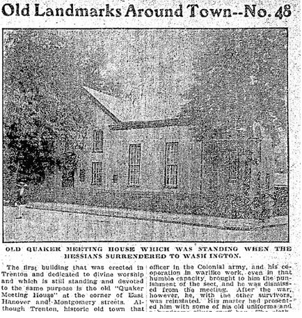 article about the Quaker meeting house in Trenton, New Jersey, Philadelphia Inquirer newspaper article 29 July 1897