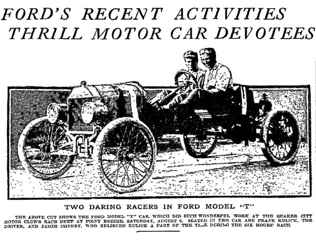 article about the Ford Model T car, Philadelphia Inquirer newspaper article 14 August 1910