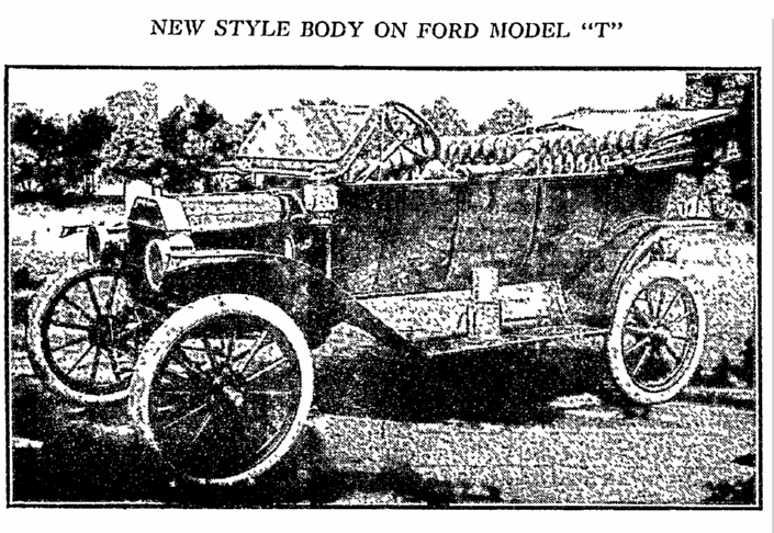 New Style Body on Ford Model T, Philadelphia Inquirer newspaper article 20 October 1912