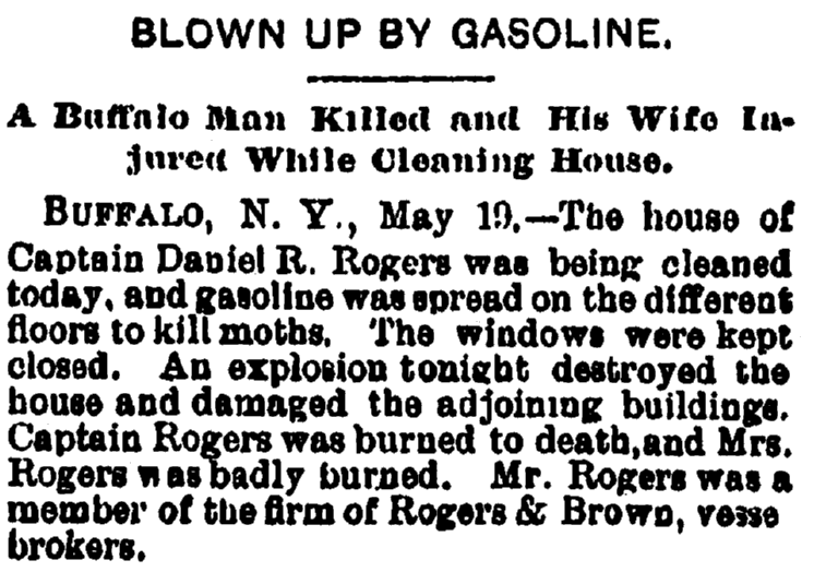 Blown Up by Gasoline, Plain Dealer newspaper article 20 May 1885