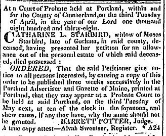 article about a probate proceeding involving Catharine Starbird, Portland Weekly Advertiser newspaper article 1 May 1838