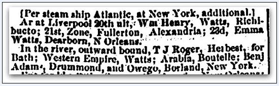 shipping news, Portland Weekly Advertiser newspaper article 13 September 1853