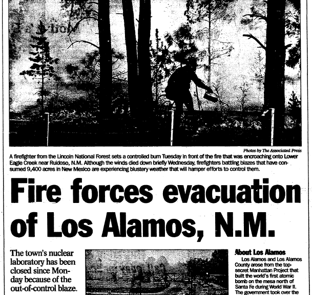 Fire Forces Evacuation of Los Alamos, N.M., Register Star newspaper article 11 May 2000