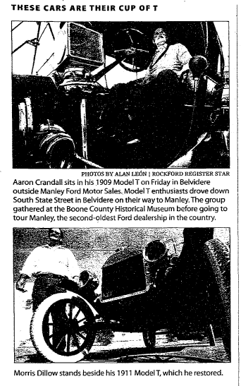 article about car enthusiasts and their Ford Model T automobiles, Register Star newspaper article 22 September 2007