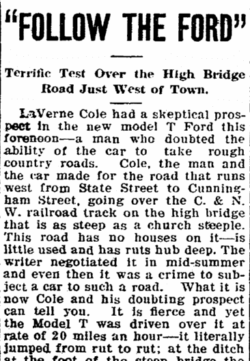 article about the Ford Model T car, Rockford Republic newspaper article 4 March 1909