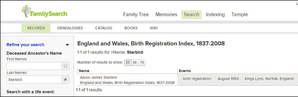"screenshot of a search on FamilySearch for the surname ""Starbird"""