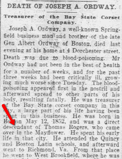 Death of Joseph A. Ordway, Springfield Republican newspaper article 6 May 1904