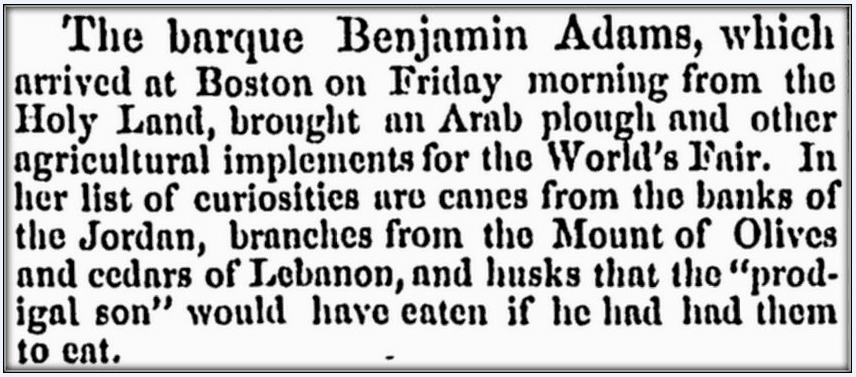 "article about the ship ""Benjamin Adams,"" Springfield Republican newspaper article 25 October 1853"