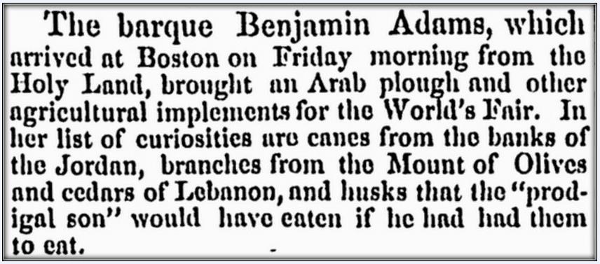 "article about the ship ""Benjamin Adams,"" Springfield Republican newspaper article 25 October 1853"