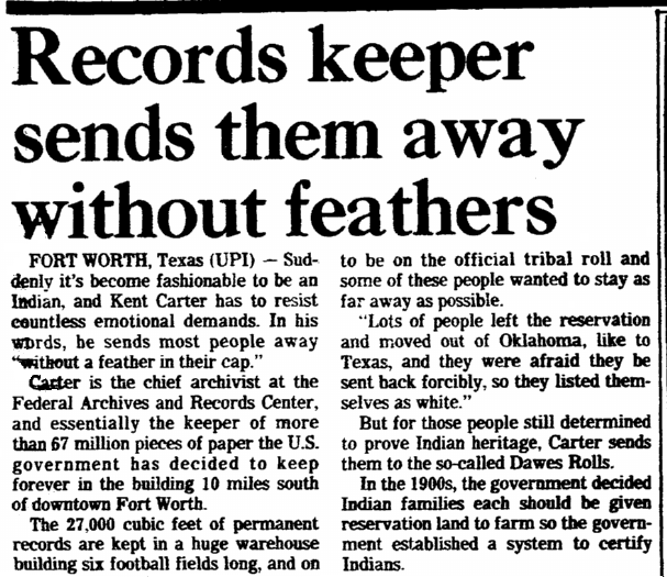 article about the Federal Archives and Records Center, Times-Picayune newspaper article 22 March 1981
