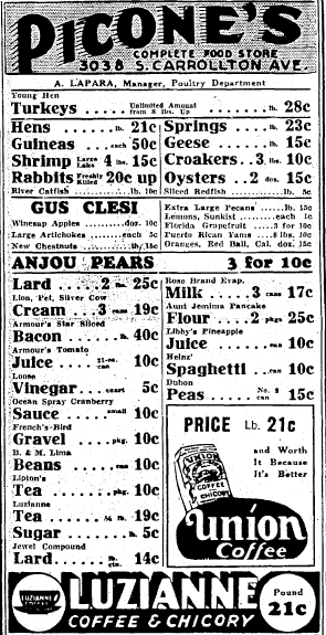 ad for Picone's Complete Food Store, Times-Picayune newspaper advertisement 23 November 1935