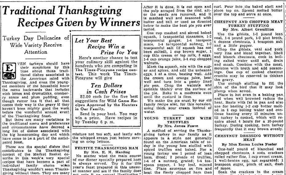 Traditional Thanksgiving Recipes Given by Winners, Times-Picayune newspaper article 23 November 1935