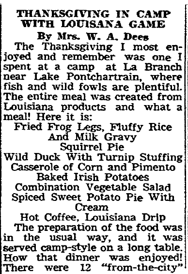 Thanksgiving in Camp with Louisiana Game, Times-Picayune newspaper article 23 November 1946