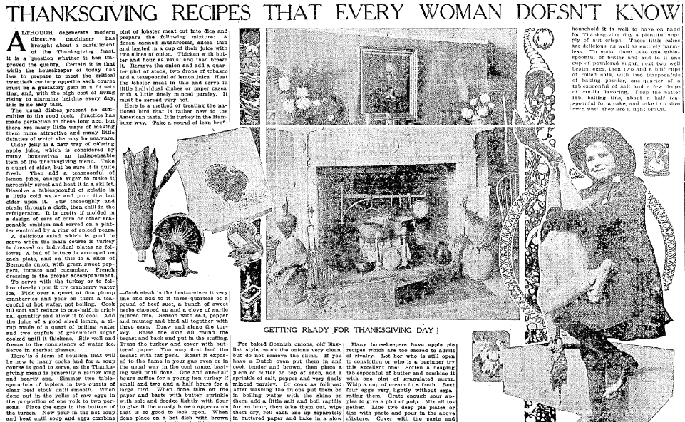 Thanksgiving Recipes That Every Woman Doesn't Know, Trenton Evening Times newspaper article 17 November 1912
