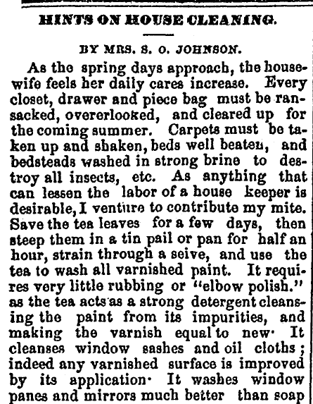 Hints on House Cleaning, Washington Reporter newspaper article 28 April 1869