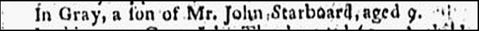 obituary for John Starboard, Weekly Eastern Argus newspaper article 26 April 1805