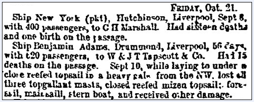 shipping news, Weekly Herald newspaper article 22 October 1853