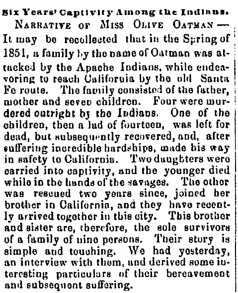article about Olive Oatman's Indian captivity, Alexandria Gazette newspaper article 10 May 1858