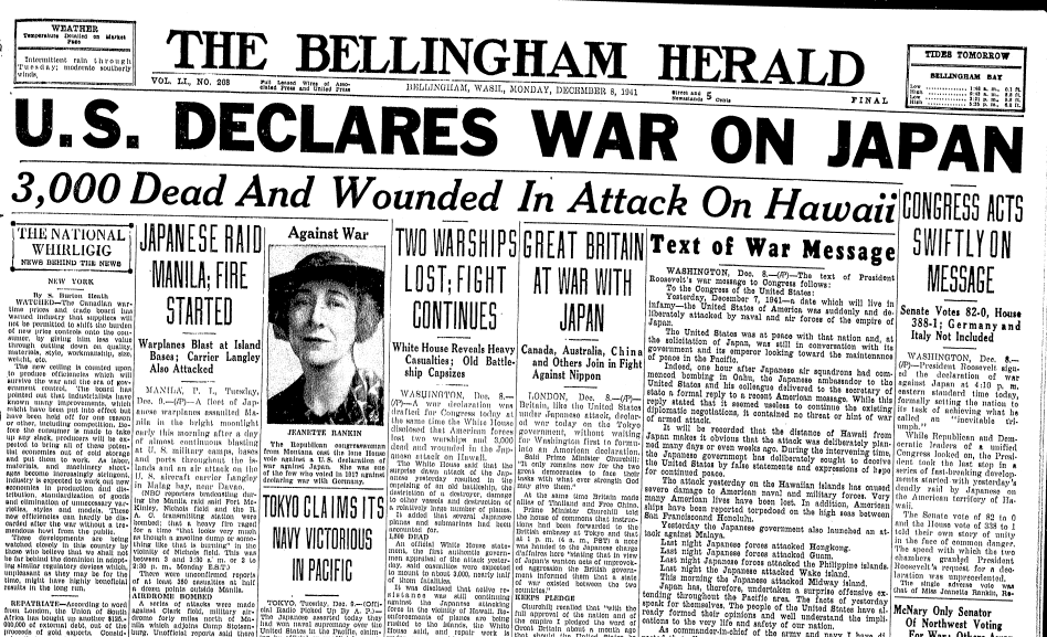 U.S. Declares War on Japan, Bellingham Herald newspaper article 8 December 1941