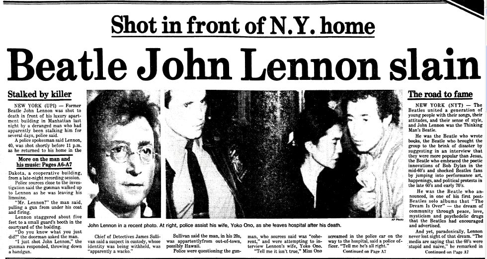 Beatle John Lennon Slain, Boston Herald newspaper article 9 December 1980