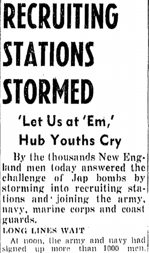 article about men enlisting for WWII, Boston Traveler newspaper article 8 December 1941
