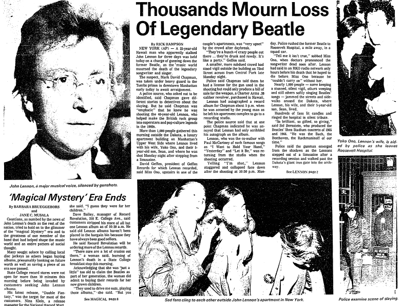Thousands Mourn Loss of Legendary Beatle (John Lennon), Centre Daily Times newspaper article 9 December 1980