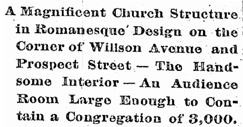 article about a Romanesque-style church in Cleveland, Cleveland Plain Dealer newspaper article 28 October 1890