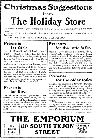 Christmas gifts ad, Colorado Springs Gazette newspaper advertisement 1 December 1906