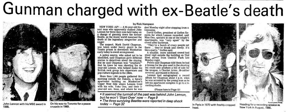 Gunman Charged with Ex-Beatle's (John Lennon) Death, Daily Advocate newspaper article 9 December 1980