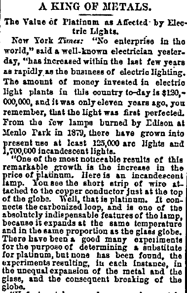 A King of Metals -- The Value of Platinum as Affected by Electric Lights, Daily Inter Ocean newspaper article 19 October 1890