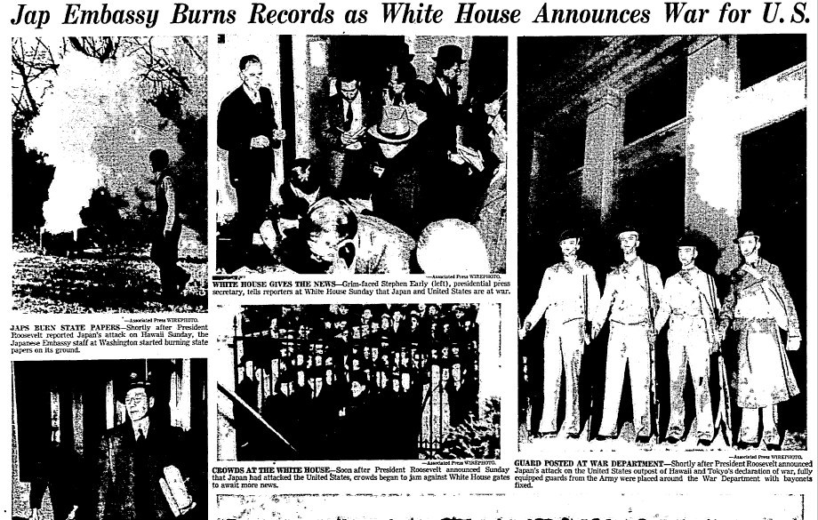 photos of the U.S. reaction to the Japanese attack on Pearl Harbor, Dallas Morning News newspaper article 8 December 1941