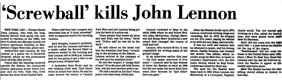 'Screwball' Kills John Lennon, Dallas Morning News newspaper article 9 December 1980