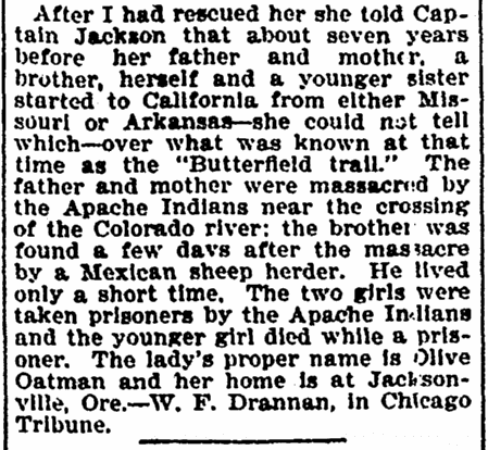 article about W. F. Drannan's claim that he rescued Olive Oatman from Indian captivity, Denver Post newspaper article 15 April 1899