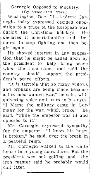 article about the WWI Christmas truce, Elkhart Daily Review newspaper article 11 December 1914