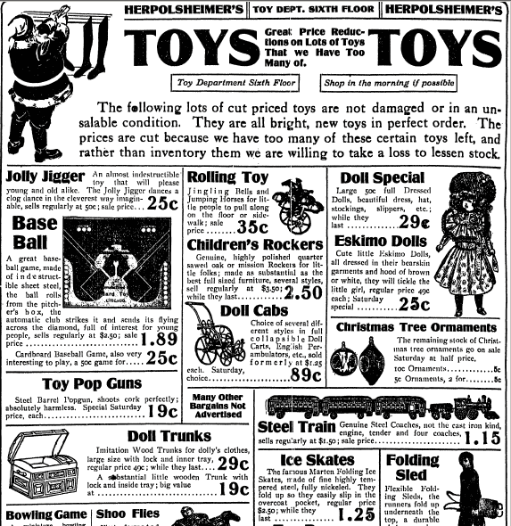Christmas toys ad, Grand Rapids Press newspaper advertisement 23 December 1910