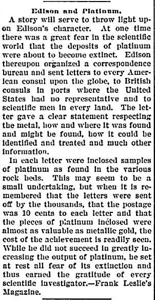 Edison and Platinum, Idaho Statesman newspaper article 14 August 1901