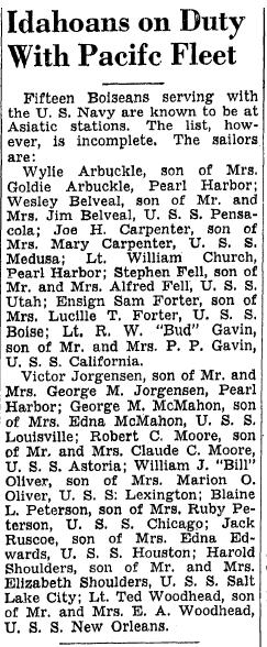 Idahoans on Duty with Pacific Fleet, Idaho Statesman newspaper article 8 December 1941