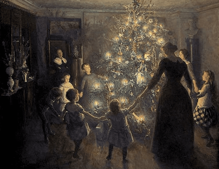 "painting: ""Happy Christmas"" by Johansen Viggo, 1891"