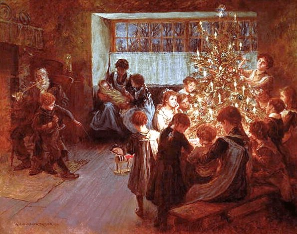 "Painting: ""The Christmas Tree"" by Albert Chevallier Tayler, 1911"